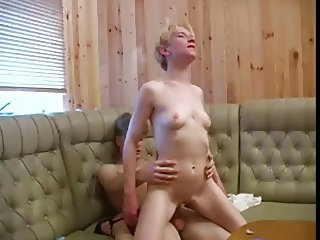 Elder mom with flabby saggy tits & guy