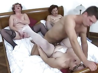 Three horny matures in stockings and one guy