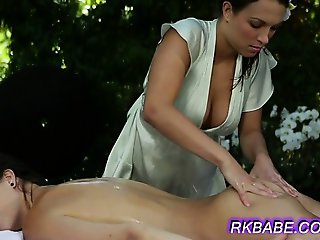 Slow rubbing her pink wet pussy