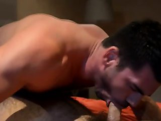 Muscly dick sucking hunk rimmed
