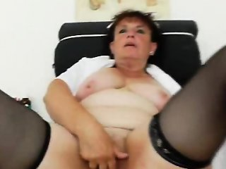 Orgasmic head caretaker playing with herself in her uniform