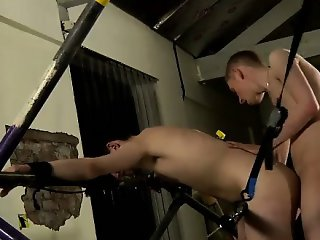 Gay video The man starts off with a slimy toy and his oiled