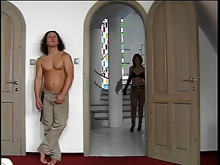 Hot chick takes on  3 cocks