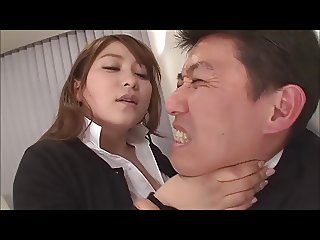 Busty Japanese secretary Yui strapon fucks boss (censored)