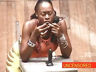 African Woman Comedian Deep Throats A Dildo