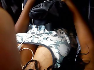 Sexy black girl on bus