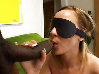 Blindfold and tap that shaved pussy