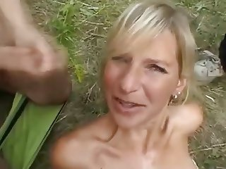 Amateur French sex group - outside sex - bukkake