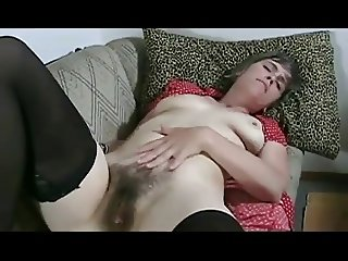 Hairy Nicole fucks her toy