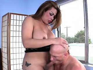 Big racks TS Angel rides a hard boner