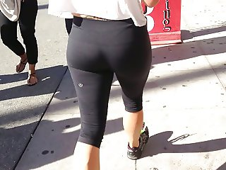 Yoga pants- Blonde jogger thong vpl ass
