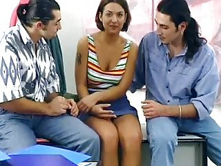 Very cute shy teen agrees to fuck 2 guys