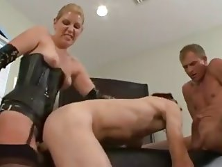 She strapons him while he sucks a dick bi-sexmonkey 3