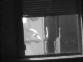 caught towel bulge adjustment dick window neighbor spying