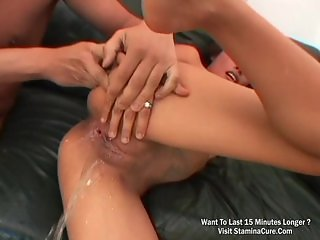Horny asian taking three cocks in her holes