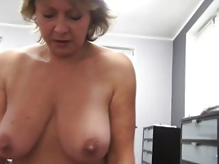 Czech mature POV 53yo blowjob fuck and cumming on big boobs
