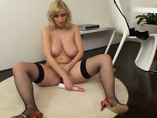 Blonde bitch with giant tits is so horny part4
