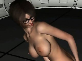 Geeky 3D cartoon brunette babe toying her pussy