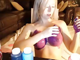 busty sexy blonde tit art and bath