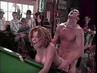 Lusty brunette Gina gets her juicy pussy lick at bar
