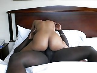 Ebony taking BBC on hotel bed