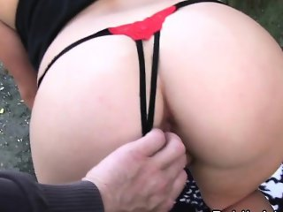 Perfect ass Czech blonde fucked outdoor pov