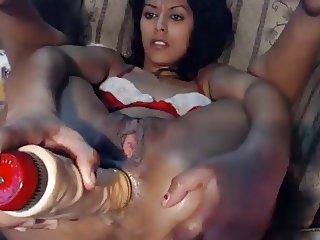 Anal gape with huge toy and bi squirts from fingering