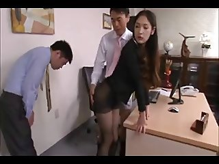Asian secretary, long black hair seduced