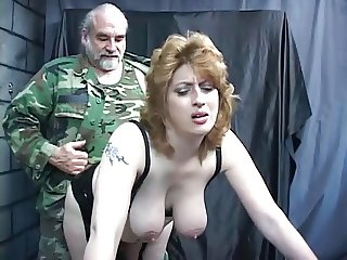Knife, dildo, and tools fill up the asshole on this bdsm torture anal victim