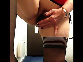 Sexy granny black dildo black stockings.squirting