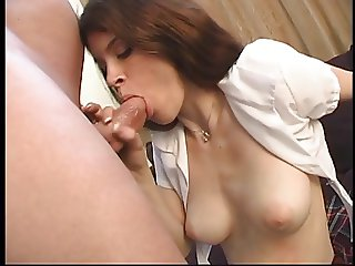 Young anal brunette in white stockings with shaved pussy gets fucked hard
