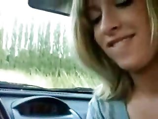 Cute 19yr Girl Sucks Cock in Car & Plays w Tight Pussy