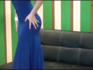 housewife dancing in blue long sexy dress