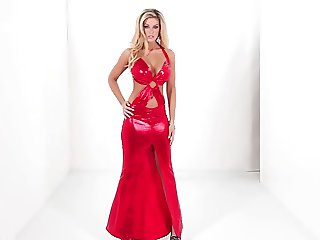red long sexy dress model