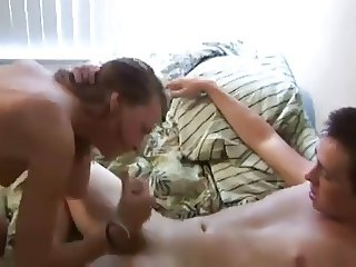 She fucks her boyfriend and his dad has at her pussy