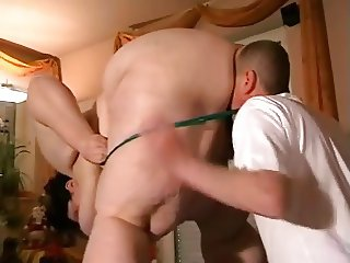 SSBBW dom and her male slave ass and pussy eating