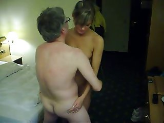 Old guy gets lucky with hot  blonde in hotel