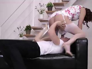 Oral sex fun for mature brunette British lady in stockings