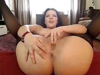 Hot Latin In Stockings Toys On Cam
