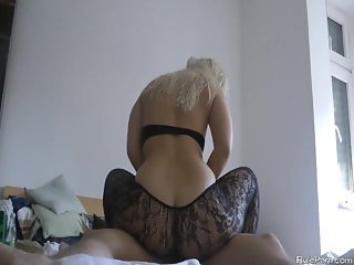 Blond girl with epic ass rides hard cock