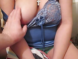 Touching her tits in lingerie