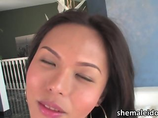 Asian ladyboy Tayor jacks and pours cum