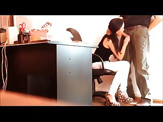 Hot brunette Italian secretary Sucks off her boss's cock