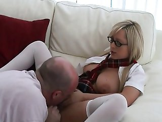 young au pair french student learning sex with old man