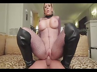 Busty Sara fucked in fishnets