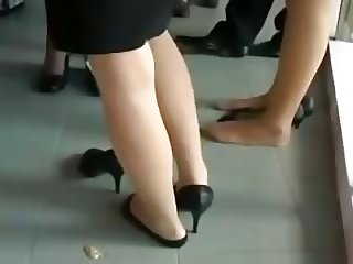 Nylon Feet Legs Shoeplay at Graduation