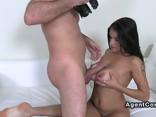 Amateur gets big tits fucked on casting