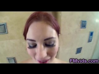 POV shower with cute redhead babe