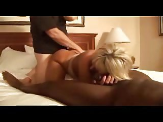 Beautiful blonde wife fuck interracial in hotel room