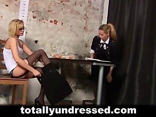 Double dildo test for hot blonde secretary